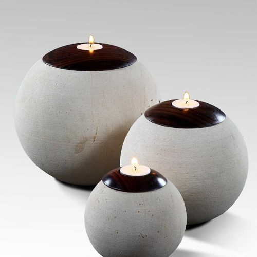 Candle Holder Round Stone S/3