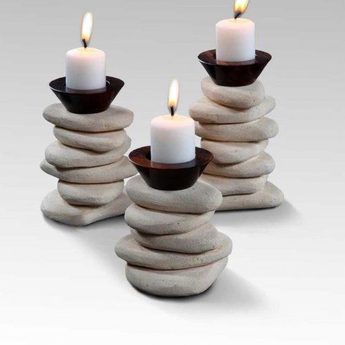Candle Holder Stackstone Set/3